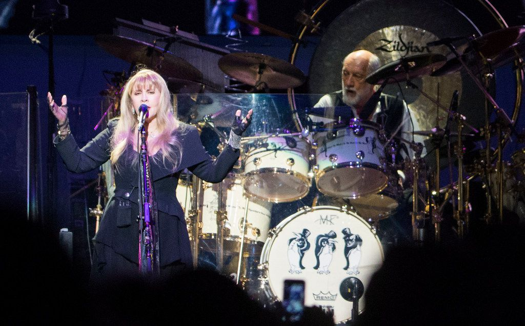 """Fleetwood Mac singer Stevie Nicks and drummer Mick Fleetwood perform """"Dreams"""" at the American Airlines Center in Dallas on Feb. 7, 2019. Other songs they played included """"The Chain,"""" and """"Little Lies."""" Their next stop is Feb. 9 at the Frank Erwin Center in Austin."""