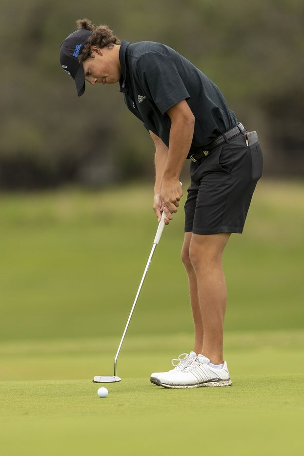 Plano WestÕs Matt Comegys putts on the 5th green during the final round of the UIL Class 6A boys golf tournament in Georgetown, Tuesday, May 18, 2021. (Stephen Spillman/Special Contributor)