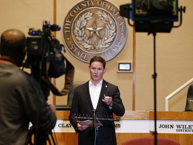 Dallas County Judge Clay Jenkins speaks at a press conference updating an amended order for the COVID-19 response at the Dallas County Administration Building in Dallas on Saturday, March 21, 2020. (Vernon Bryant/The Dallas Morning News)