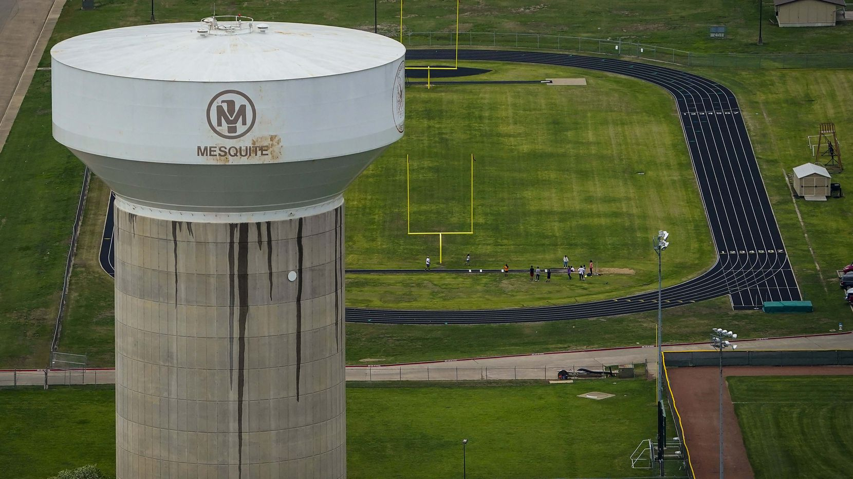 Aerial view of water tower and athletic fields at West Mesquite High School on Thursday, March 12, 2020, in Mesquite.