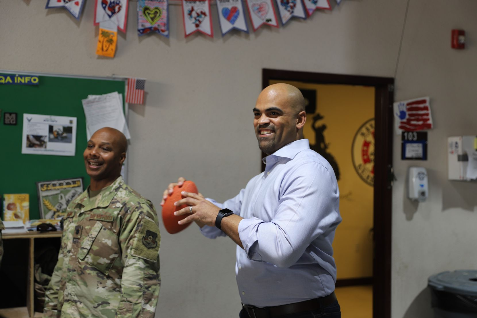 Rep. Colin Allred, D-Dallas, throws a football at Camp Arifjan in Kuwait. Allred visited the base as part of a weeklong trip to visit soldiers in Kuwait and Afghanistan from Nov. 25 to Dec. 1.