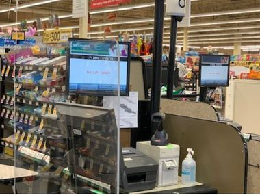 """Plexiglass """"sneeze guards"""" are being added to Albertsons, Tom Thumb and Randalls stores in Texas to protect employees and customers during the coronavirus pandemic."""