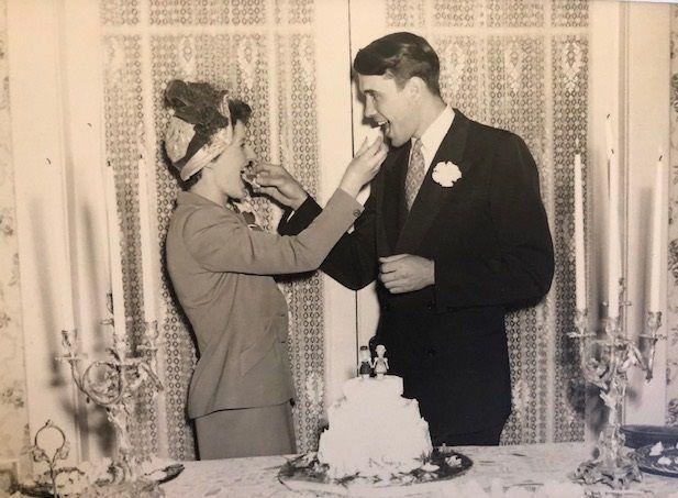 Peggy Wehmeyer's parents Anita and Karl Wehmeyer celebrate  on their wedding day.