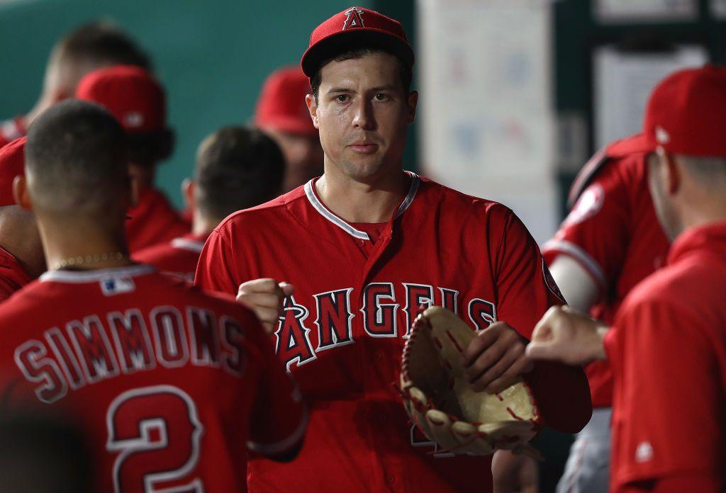 El abridor Tyler Skaggs #45 de Los Angeles Angels falleció el lunes. El partido contra los Rangers fue suspendido. (Foto de Jamie Squire/Getty Images)