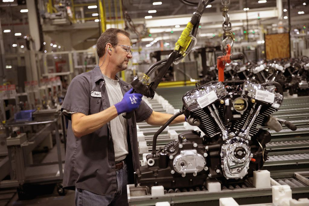 Harley-Davidson motorcycle engines are assembled at the company's Powertrain Operations plant on June 1, 2018 in Menomonee Falls, Wis. The European Union said it plans to increase duties on a range of U.S. imports, including Harley-Davidson motorcycles, in retaliation for the Trump administration's new tariffs on EU metal exports.