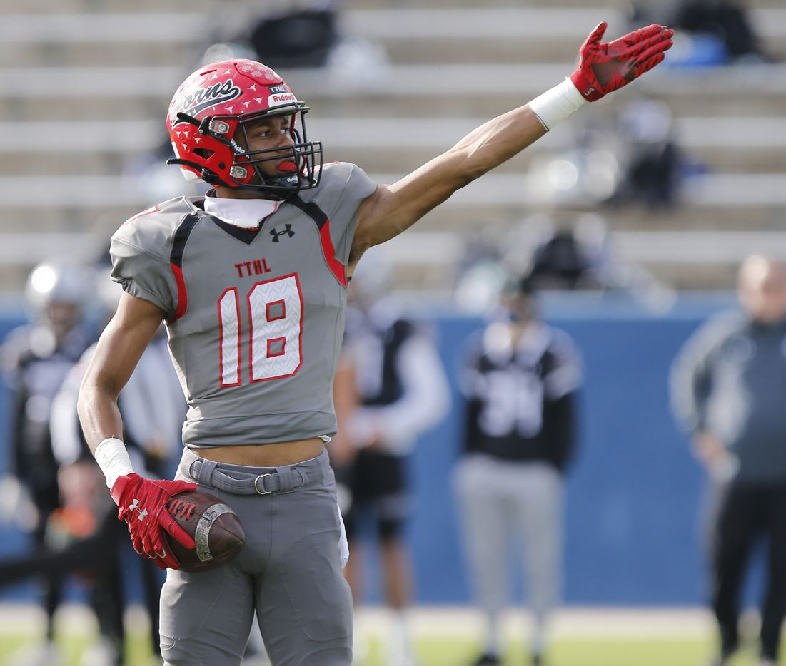 Cedar Hill High School wide receiver Jayden Moore (18) signals first down after a catch to keep a scoring drive alive during the first half as Denton Guyer High School played Cedar Hill High School in the Class 6A Division II, state semifinal at McKinney ISD Stadium in McKinney on Saturday, January 9, 2021.  (Stewart F. House/Special Contributor)