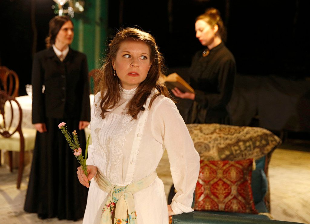 Three Sisters at Undermain Theatre features Jenny Ledel (foreground) as Irina, Joanna Schellenberg (left) as Olga, and Shannon Kearns as Masha.