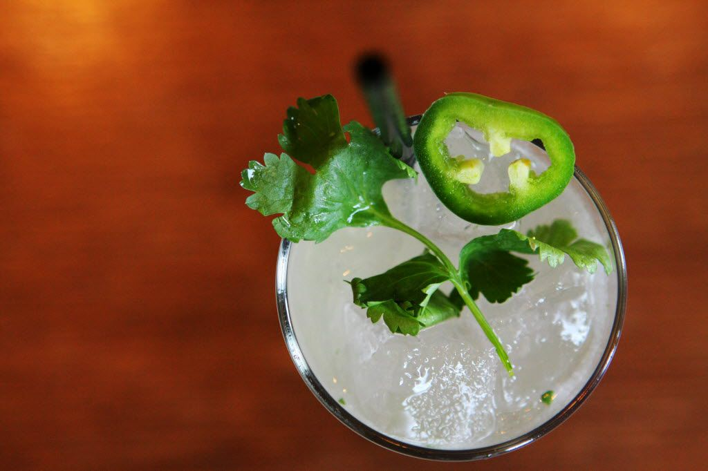 A Ambhar Spicy Paloma prepared by Bartender Milton Nascimento on June 29, 2011 at the Stoneleigh Hotel bar in Uptown Dallas.