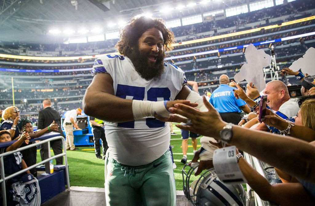 Dallas Cowboys center Joe Looney (73) leaves the field after a 35-17 win over the New York Giants on Sunday, September 8, 2019 at AT&T Stadium in Arlington.