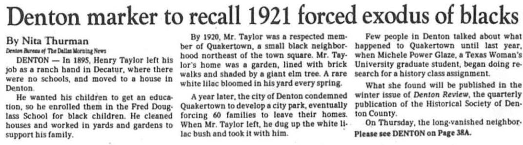 A 1991 story is the first mention in The Dallas Morning News of the finding of the lost community of Quakertown in Denton.