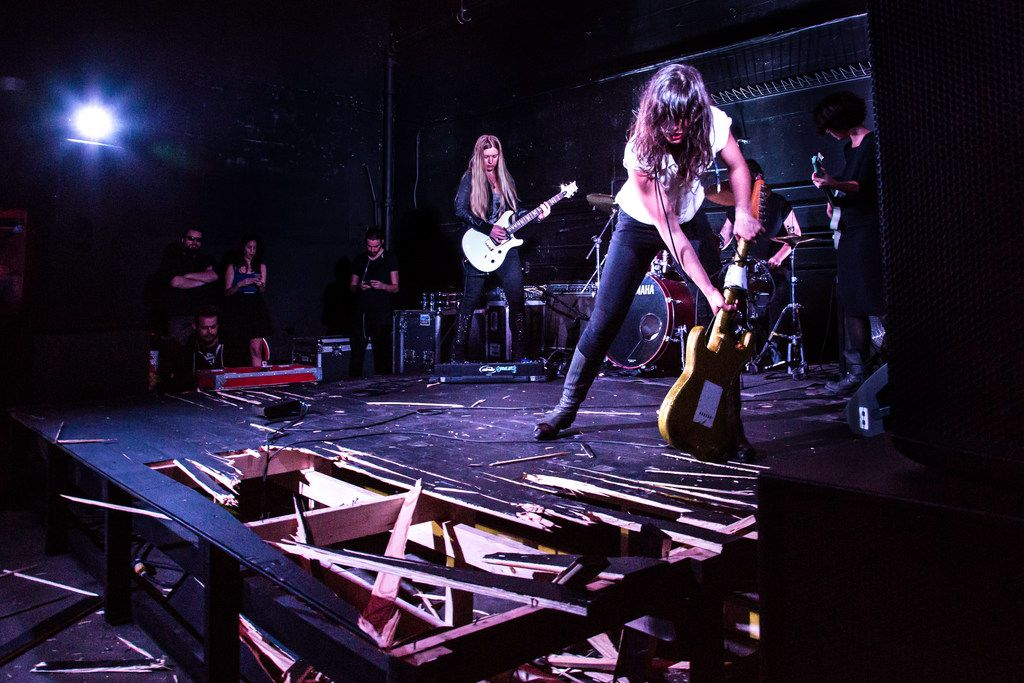 Smashed electric guitars will become unique works of art and one-of-a-kind instruments in the world premiere of  Melodies of Certain Damage,  a Soluna commission. On May 11, 2018, at 9 p.m., Israeli artist Naama Tsabar will lead a group of musicians who will play on shattered guitars restrung in new configurations and then amplified. This musical experience will demonstrate the spectrum of musical expression and push the boundaries of what a musical instrument can be.