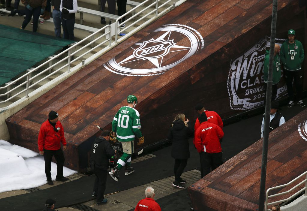 Dallas Stars right wing Corey Perry (10) exits the ice after being penalized for elbowing and game misconduct during the first period of a NHL Winter Classic matchup between the Dallas Stars and the Nashville Predators on Wednesday, January 1, 2020 at Cotton Bowl Stadium in Dallas. (Ryan Michalesko/The Dallas Morning News)