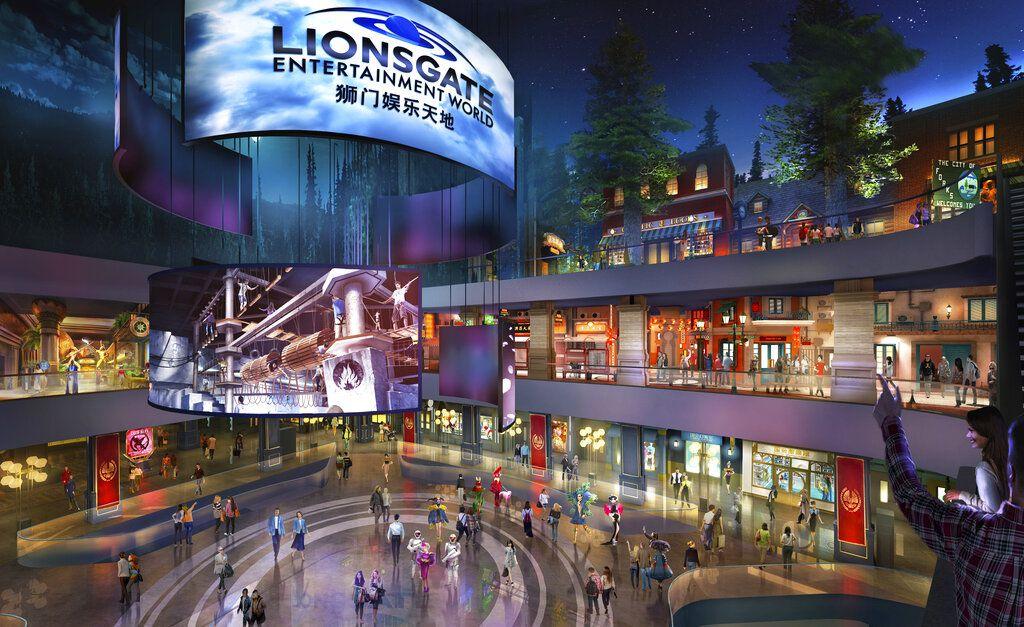 """Una imagen por computadora proporcionada por Lionsgate muestra el vestíbulo de Lionsgate Entertainment World, un parque temático con muchas atracciones de realidad virtual que será inaugurado en julio en la Isla de Hengqin en Zhuhai, China. El parque incluirá atracciones, tiendas y juegos basados en las películas de Lionsgate como """"Los juegos del hambre"""", """"Crepúsculo"""" y """"Escape Room"""". (Lionsgate vía AP)"""