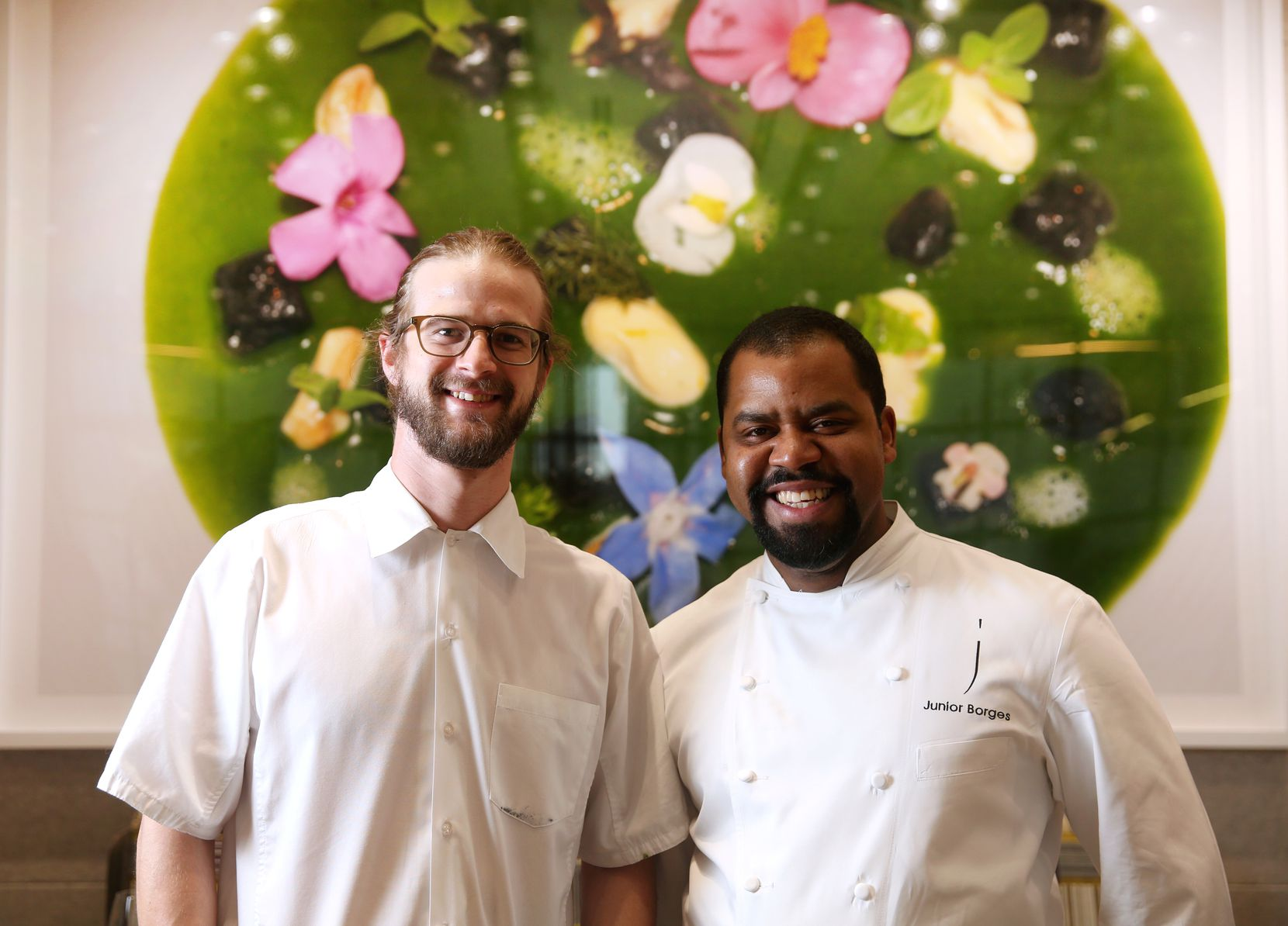 Mirador, the penthouse restaurant atop Forty Five Ten, features the cooking of executive chefs Josh Sutcliff (left) and Junior Borges.