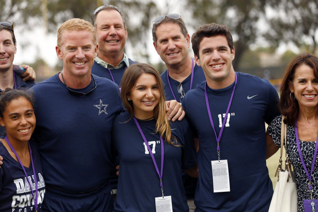 Dallas Cowboys head coach Jason Garrett is joined by members of the Scolinos family from California following  afternoon practice at training camp in Oxnard, California, Saturday, August 6, 2016. (Tom Fox/The Dallas Morning News)