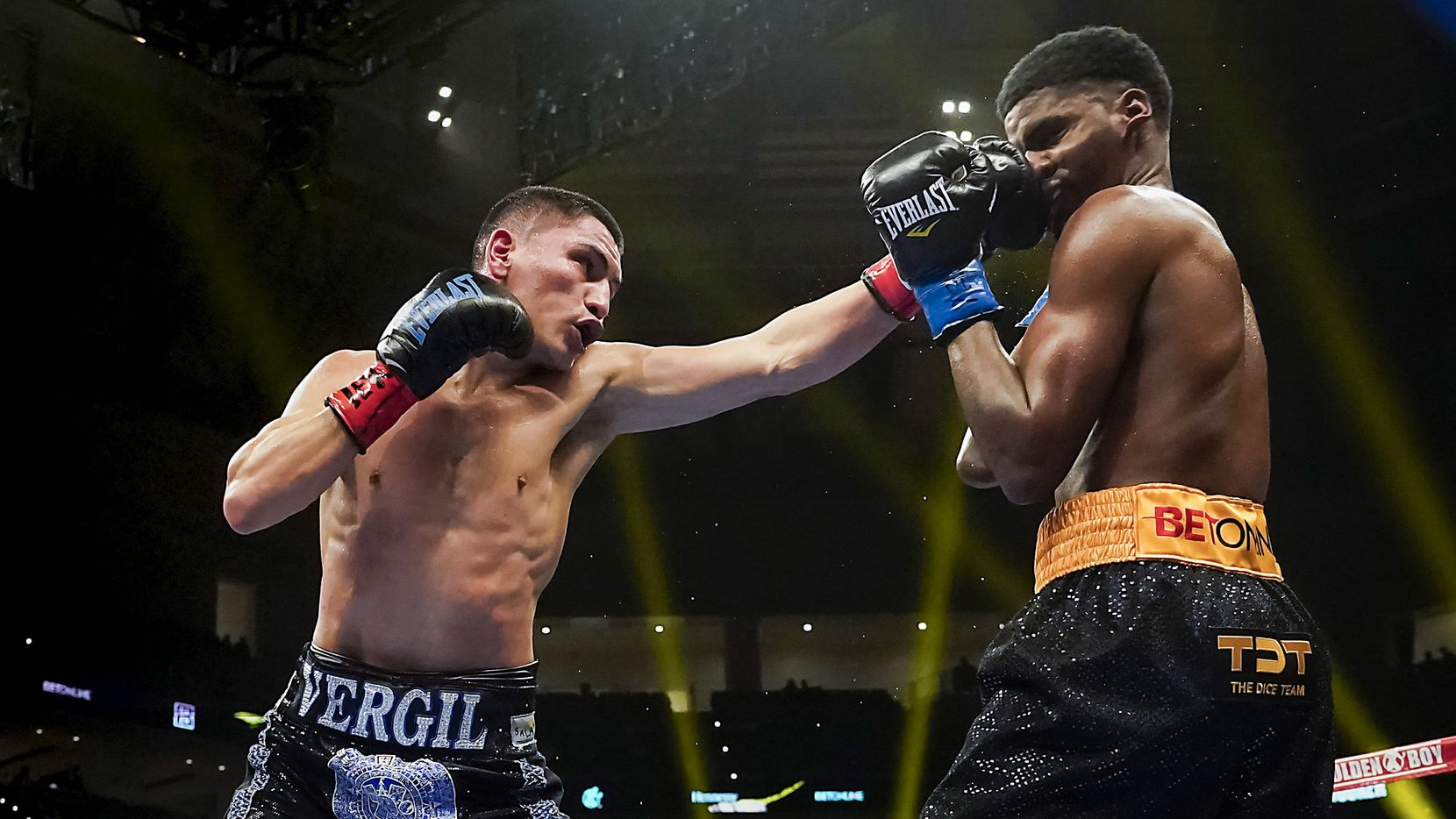 Vergil Ortiz Jr. (left) lands a punch to the face of Maurice Hooker as they fight for the vacant WBO international welterweight title at Dickies Arena on Saturday, March 20, 2021, in Fort Worth, Texas. (Smiley N. Pool/The Dallas Morning News)