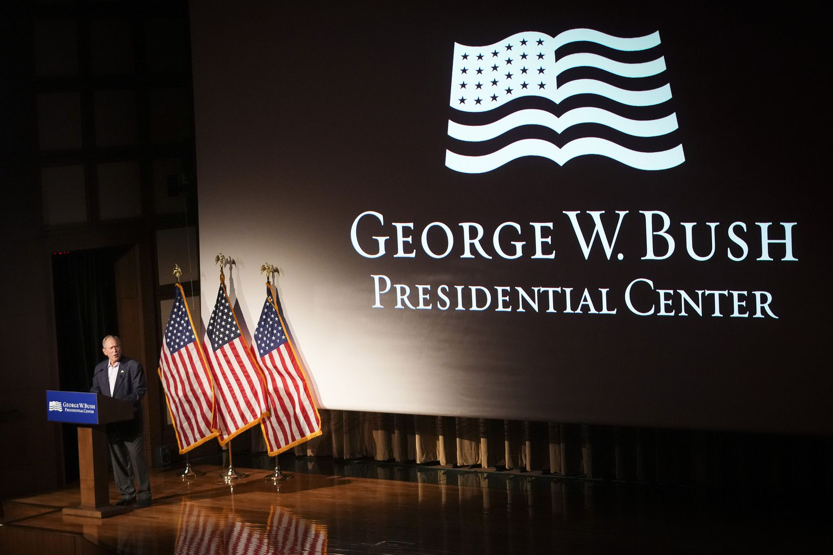 Former President George W. Bush speaks before a screening of a new documentary about the the hours and days immediately following the 9/11 attacks.