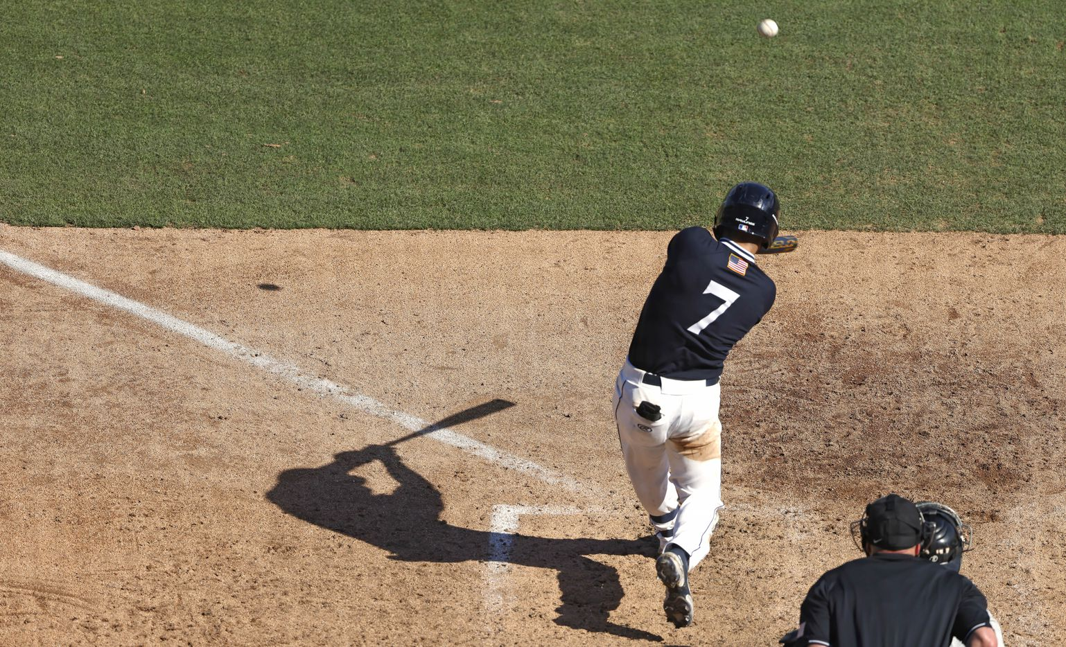 Dallas Baptist's Ryan Wrobleski (7) hits a two-run home run against Oregon St. in the sixth inning during the NCAA Division I Baseball Regional Championship game in Fort Worth, Texas on June 7, 2021. (Ron Jenkins/Special Contributor)