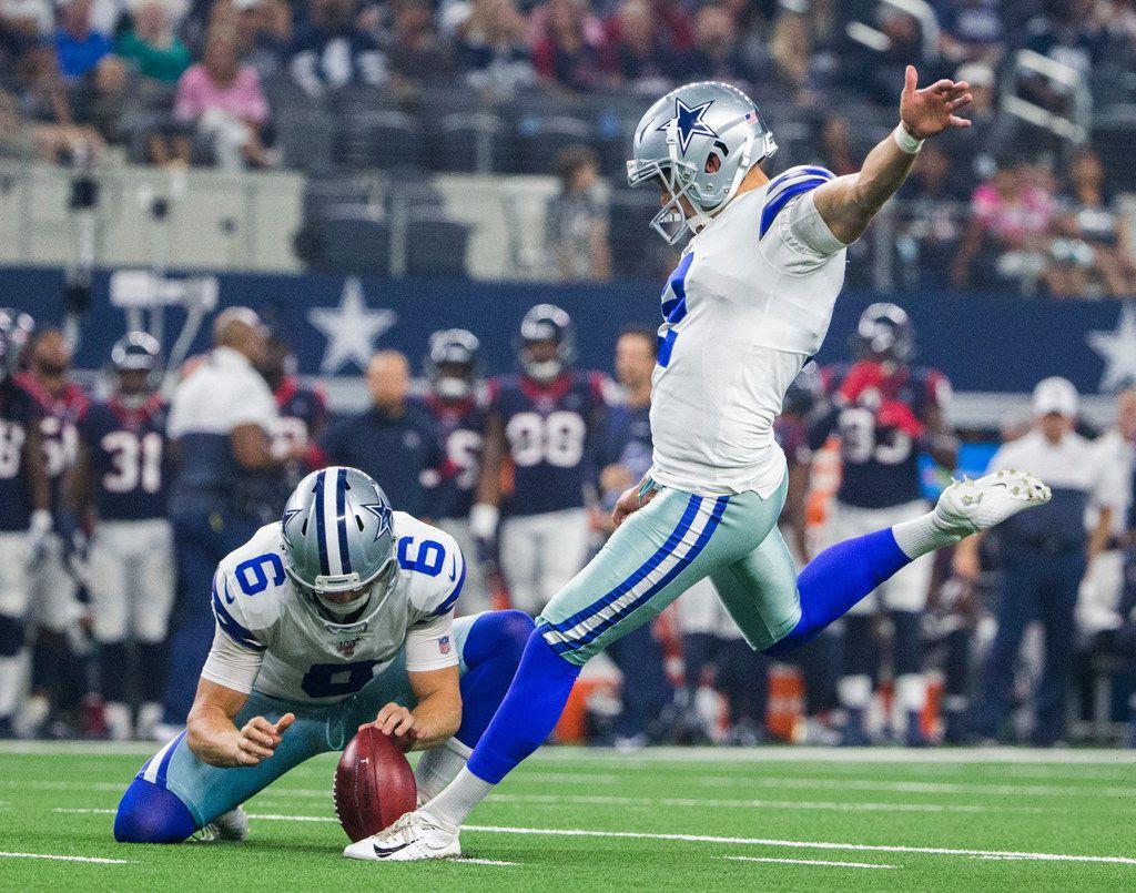 Dallas Cowboys kicker Brett Maher (2) kicks an extra point field goal during the first quarter of an NFL game between the Dallas Cowboys and the Houston Texans on Saturday, August 24, 2019 at AT&T Stadium in Arlington. (Ashley Landis/The Dallas Morning News)