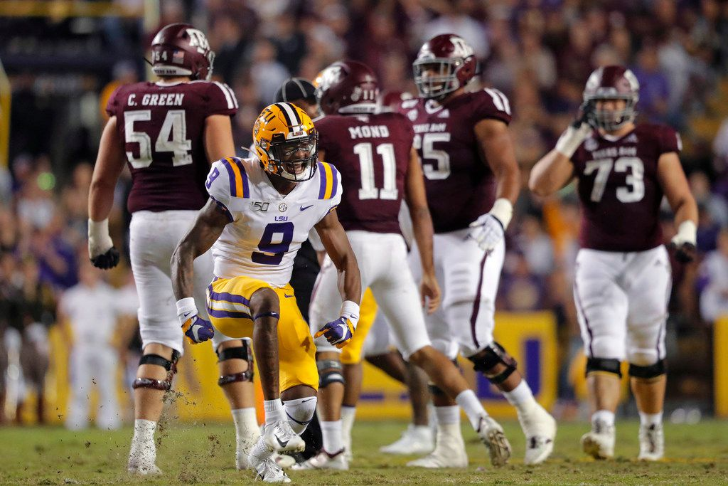 LSU safety Marcel Brooks (9) celebrates a sack during the first half of the team's NCAA college football game against Texas A&M in Baton Rouge, La., Saturday, Nov. 30, 2019. (AP Photo/Gerald Herbert)