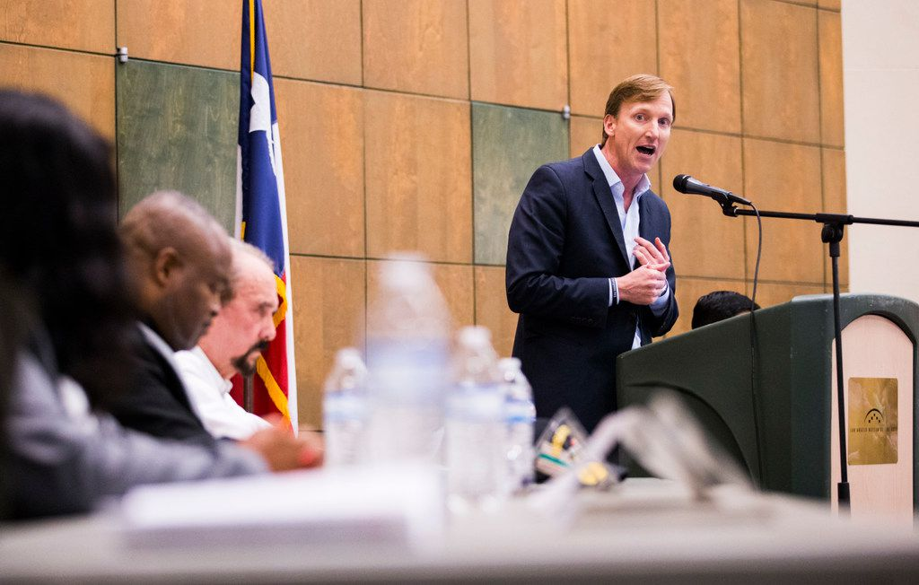 Gubernatorial candidate Andrew White (right) speaks during a Democratic forum hosted by the Tom Green County Democratic Club on Jan. 8  at the San Angelo Museum of Fine Arts in San Angelo.