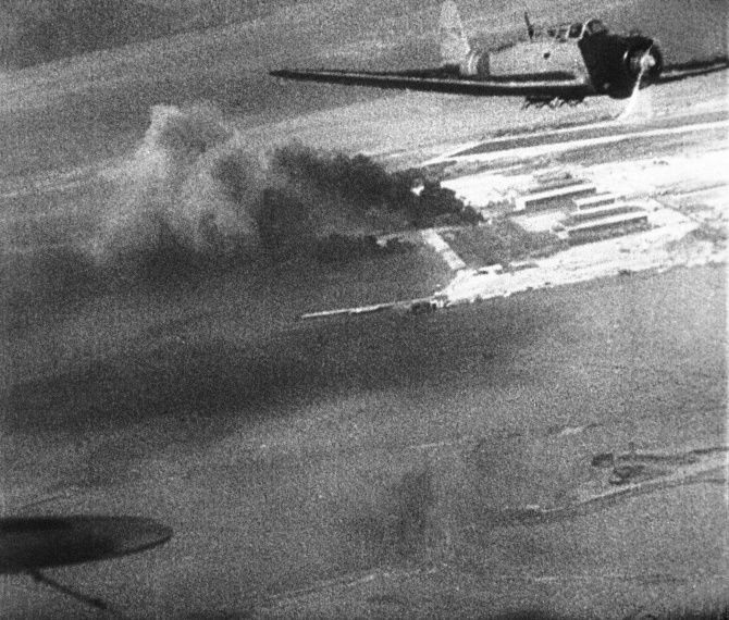 FILE - This Dec. 7, 1941 image provided by the U.S. War Department made from a Japanese newsreel shows Japanese planes over Hawaii during the attack on Pearl Harbor.