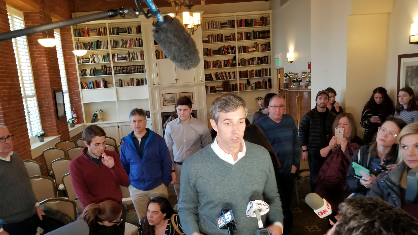 Beto O'Rourke speaks to reporters at The Common Man restaurant in Claremont, N.H., on March 20, 2019.