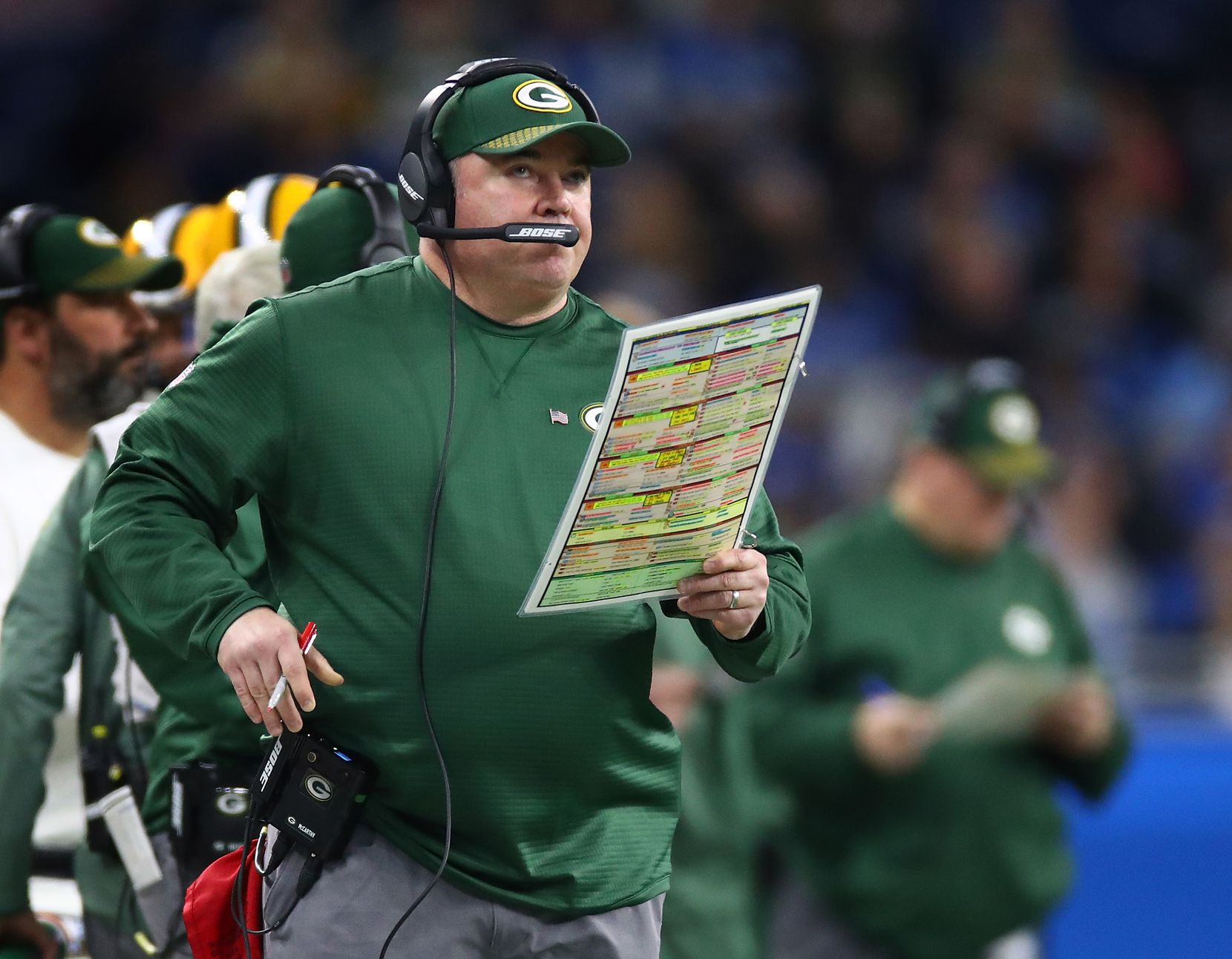 Mike McCarthy, shown during a game against Detroit in December 2017, took the Packers to the playoffs nine times and won six division titles in his 13 seasons as head coach.
