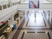 The new American Airlines campus and headquarters includes a training terminal for flight attendants and crew members to practice their customer service skills. T