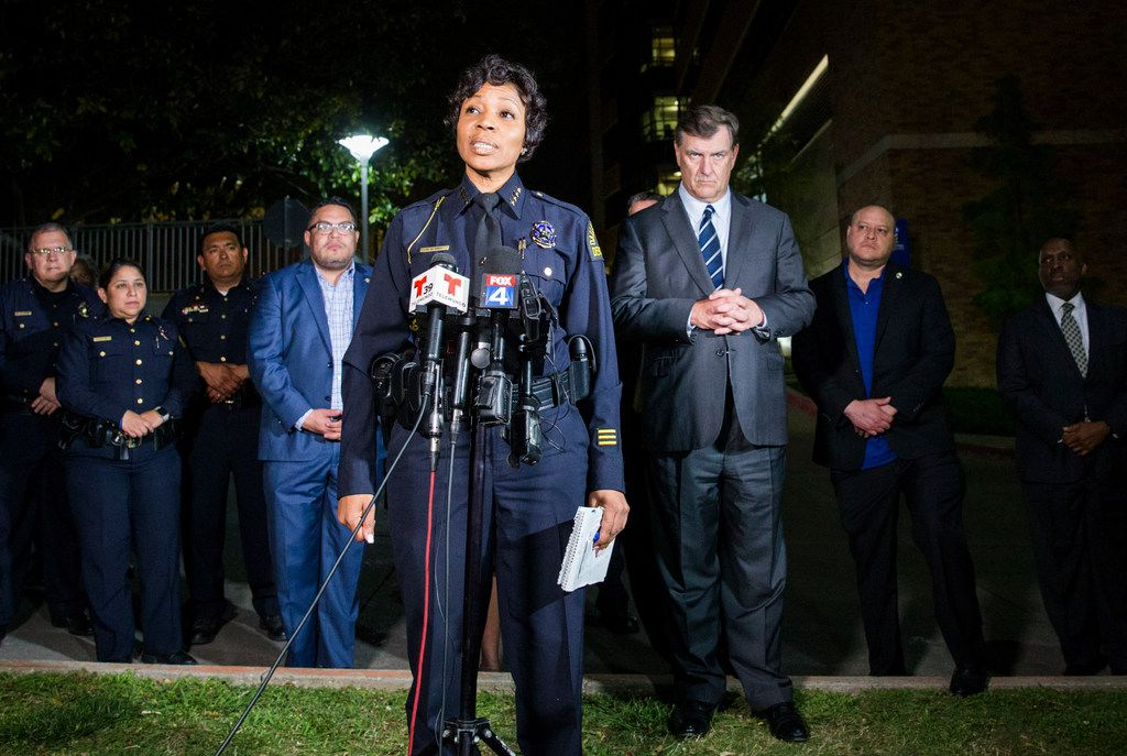 Dallas Police Chief Renee Hall speaks at a press conference outside the emergency room at Texas Health Presbyterian Hospital Dallas after a man shot two officers outside a Home Depot on Tuesday, April 24, 2018 in Dallas. (Ashley Landis/Staff Photographer)