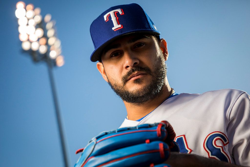 Texas Rangers pitcher Martin Perez poses for a photo during Spring Training picture day at the team's training facility on Wednesday, Feb. 21, 2018, in Surprise, Ariz. (Smiley N. Pool/The Dallas Morning News)