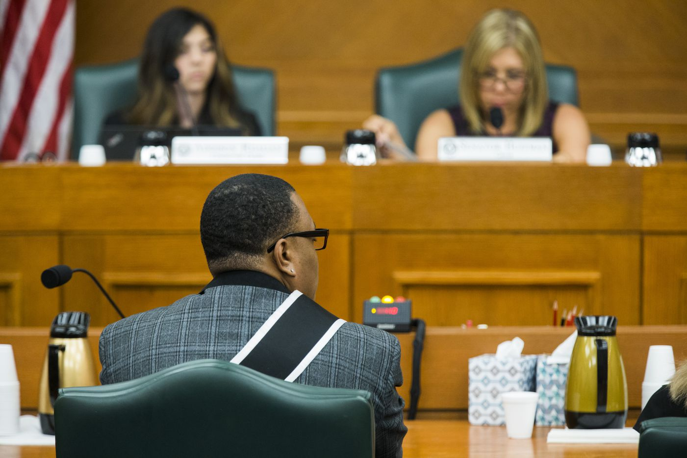 Trenton Johnson voices his opposition to the bathroom bill at a Senate State Affairs Committee public hearing on the fourth day of a special legislative session on Friday, July 21, 2017 at the Texas state capitol in Austin, Texas.