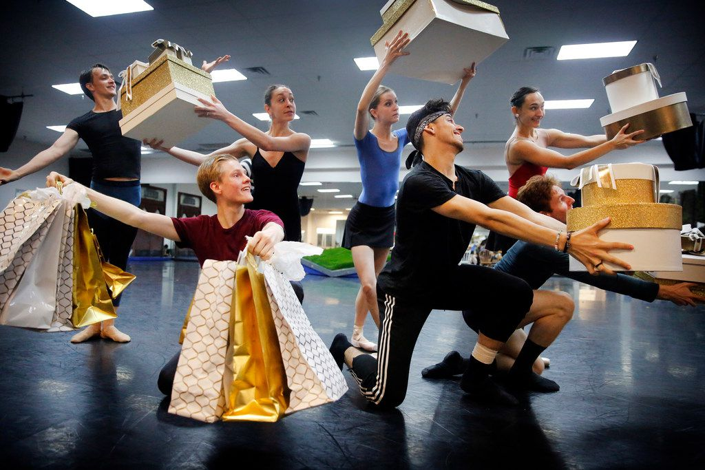 The cast for Pinocchio performs a scene during rehearsal at Texas Ballet Theater.