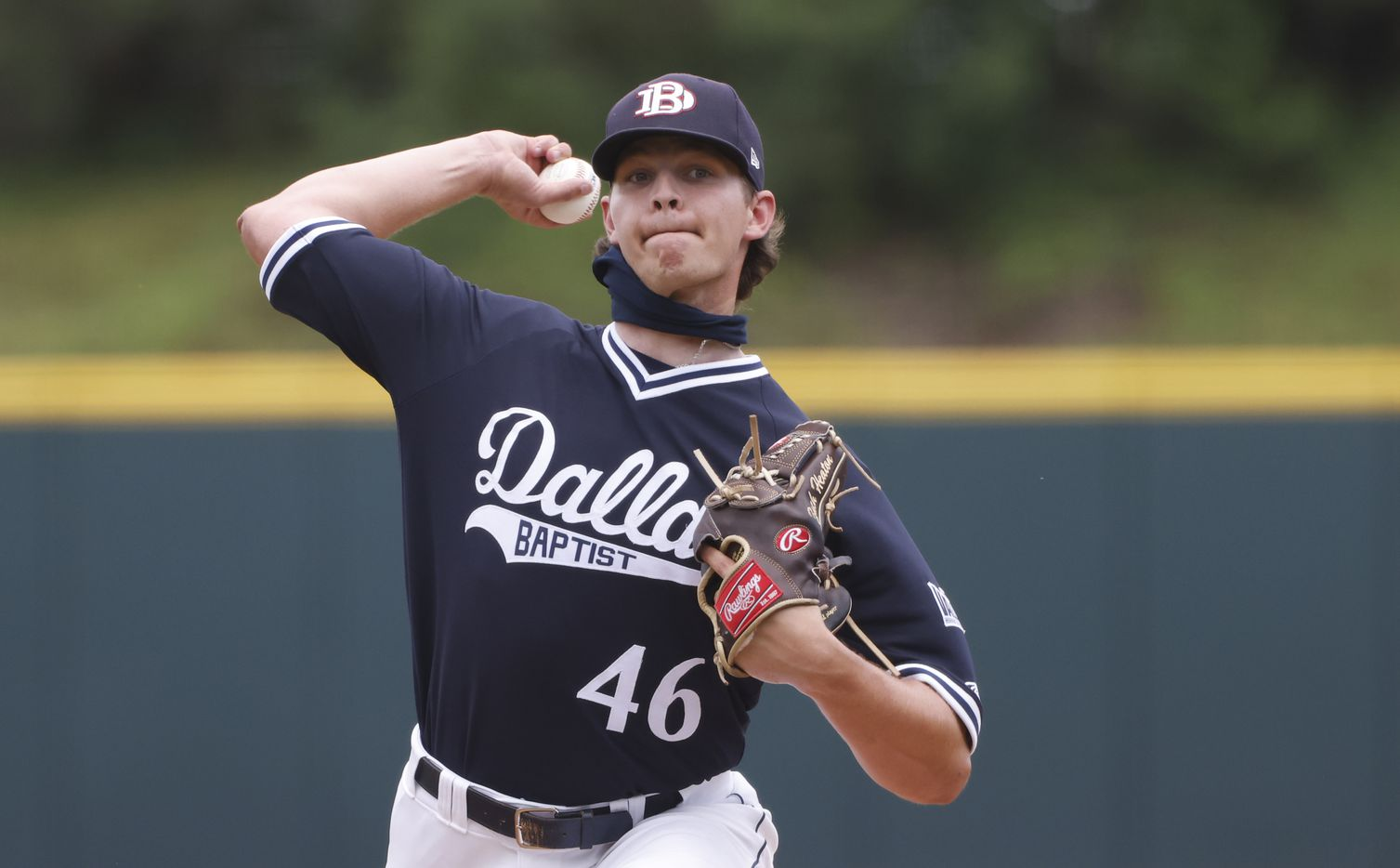 Dallas Baptist pitcher Zach Heaton (46) delivers against   Oregon St.during the NCAA Division I Baseball Regional Championship game in Fort Worth, Texas on June 7, 2021. (Ron Jenkins/Special Contributor)