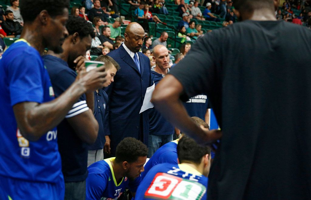 Former NBA star, Vin Baker, a coaching intern with the Texas Legends of the NBA developmental league during a break in play in a game against the Iowa Energy at Dr. Pepper Arena in Frisco, on Saturday, February 11, 2017. (Vernon Bryant/The Dallas Morning News)