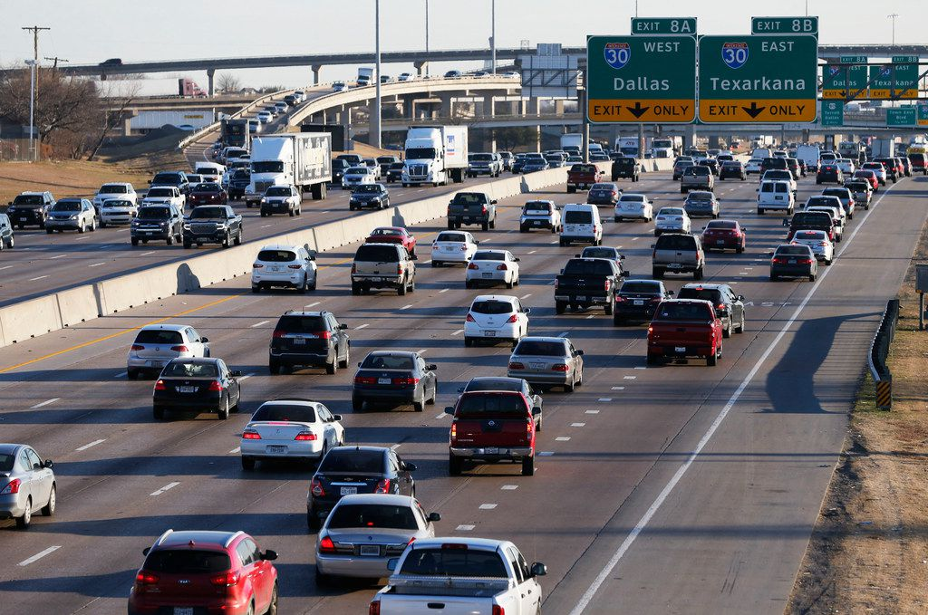 LBJ traffic heading eastbound towards I-30 near the Galloway Avenue intersection in Mesquite. A $1.6 billion project to improve LBJ Freeway from Central to I-30 was advanced by the Texas Transportation Commission in Austin in August, 2019. (Vernon Bryant/Dallas Morning News)