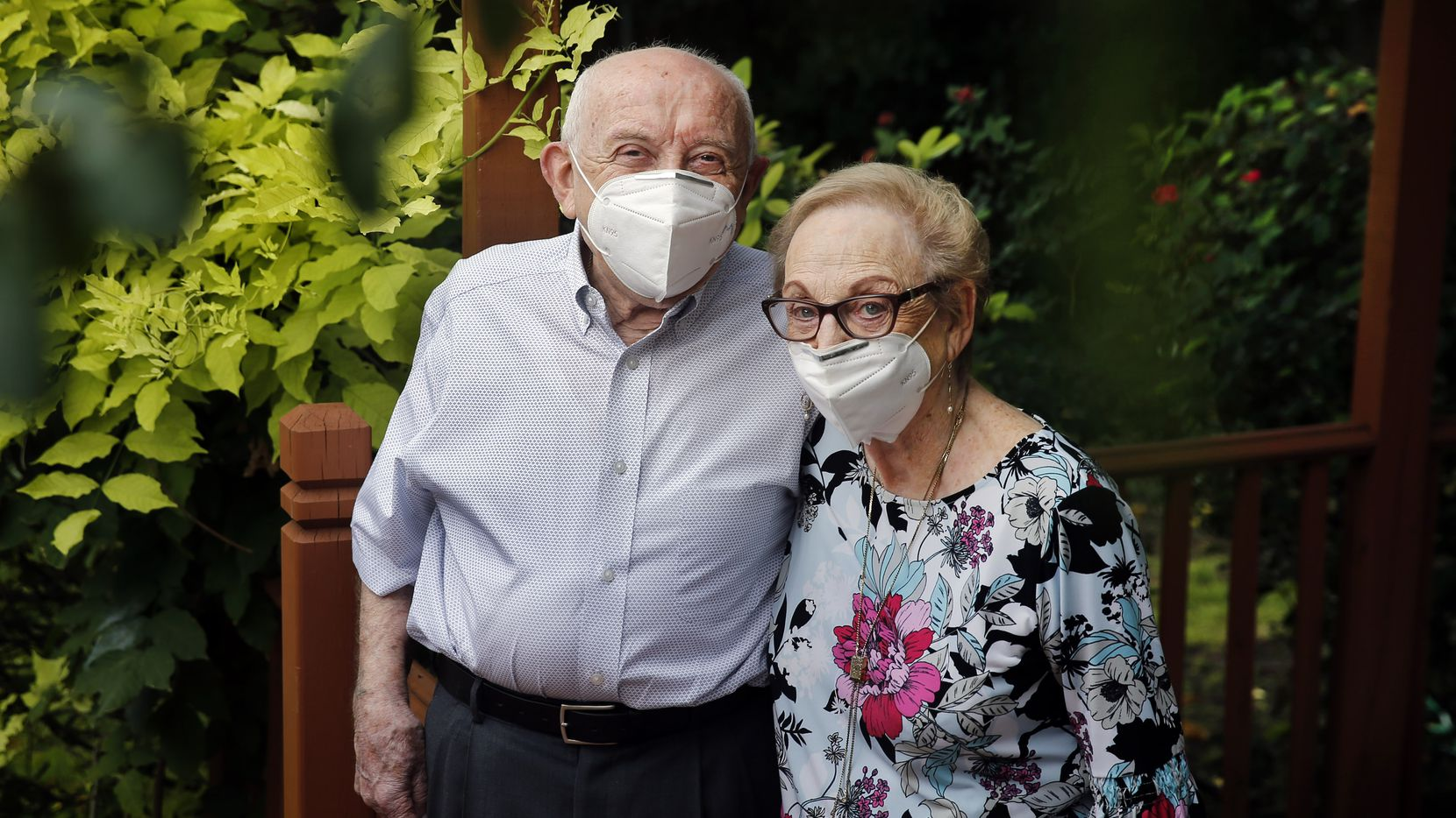 Holocaust survivor Max Glauben and his wife, Frieda, are photographed outside their Dallas home on Aug. 4, 2020.