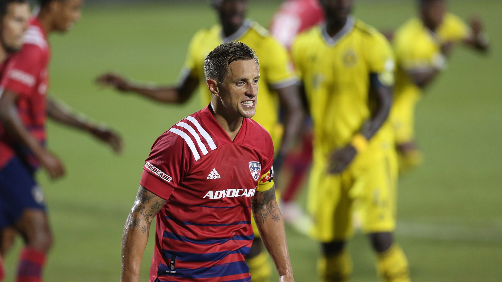 FRISCO, TX - OCTOBER 3: Reto Ziegler #3 of FC Dallas reacts during MLS Game between FC Dallas and Columbus Crew SC at Toyota Stadium on October 3, 2020 in Frisco, Texas.