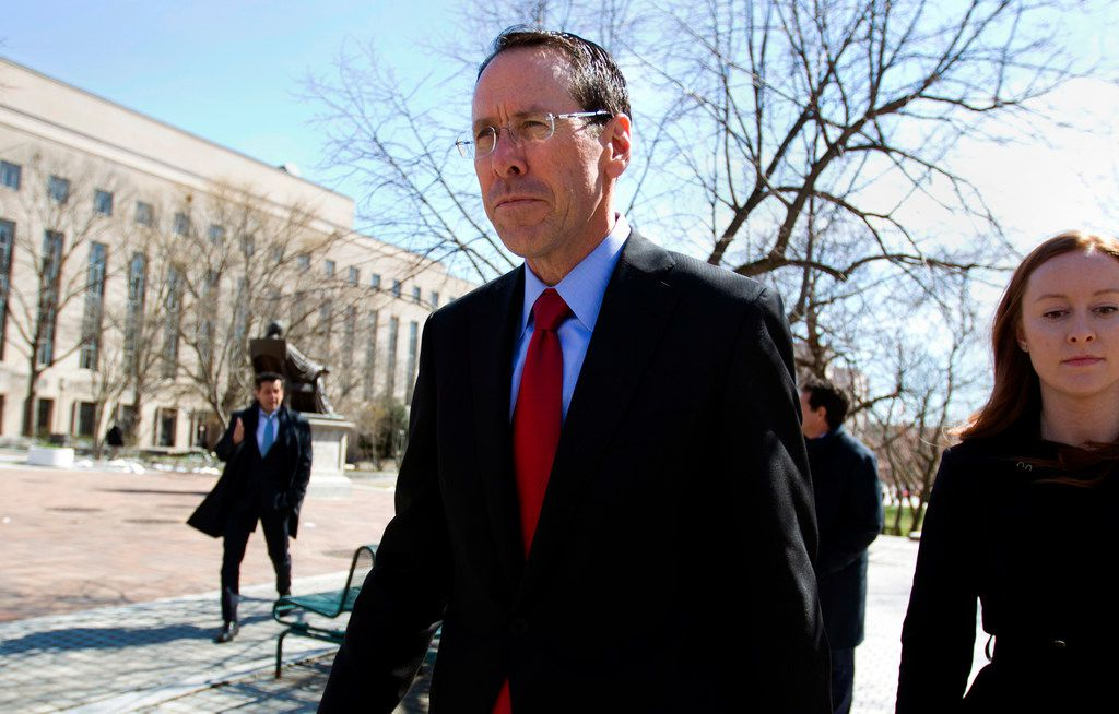 AT&T CEO Randall Stephenson leaves the federal courthouse, in Washington D.C., after opening arguments in March. The U.S. government pleaded its case to block the AT&T-Time Warner merger, saying it would hurt consumers.