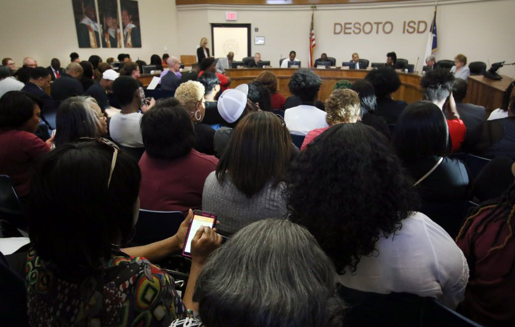 Local supporters of athletics filled the DeSoto ISD Administration Building as the board considered not renewing the contract of head football coach Todd Peterman. Under his direction, Peterman led the Eagles to a state championship last season. The DeSoto School Board had their regular scheduled meeting at DeSoto ISD Administration building located at 200 E. Beltline Road in DeSoto on April 24, 2017. (Steve Hamm/Special Contributor)