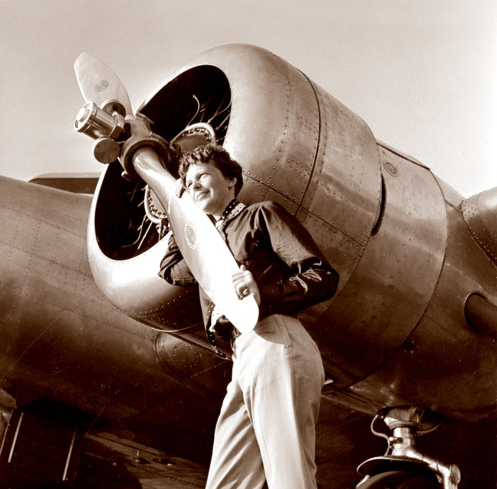 Aviator Amelia Earhart in 1937 at Burbank Airport in Burbank, Calif.