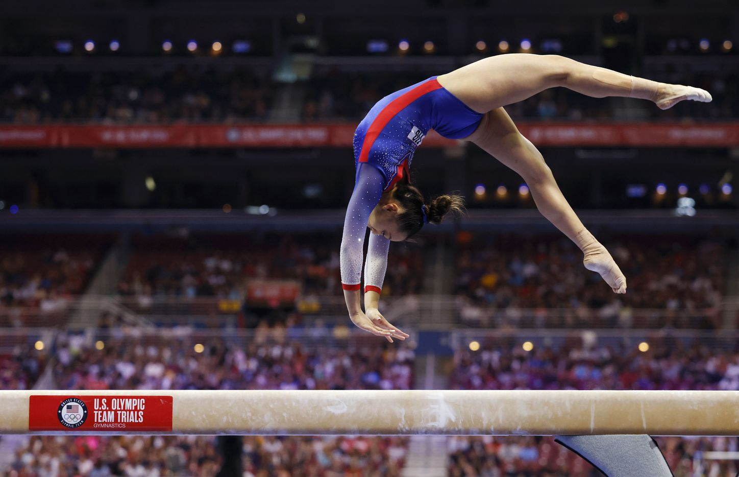 Emma Malabuyo of Texas Dreams competes on the balance beam during day 1 of the women's 2021 U.S. Olympic Trials at America's Center on Friday, June 25, 2021 in St Louis, Missouri.(Vernon Bryant/The Dallas Morning News)
