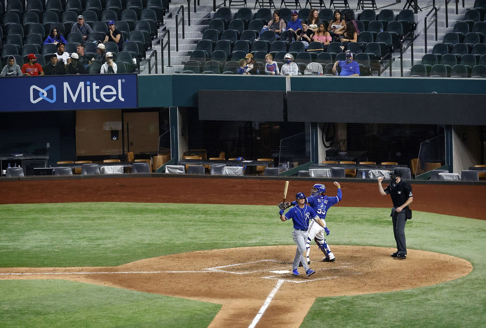 Former Colleyville Heritage shortstop Bobby Witt Jr., the No. 2 overall pick in the 2019 draft, strikes out against the Texas Rangers minor leaguers.