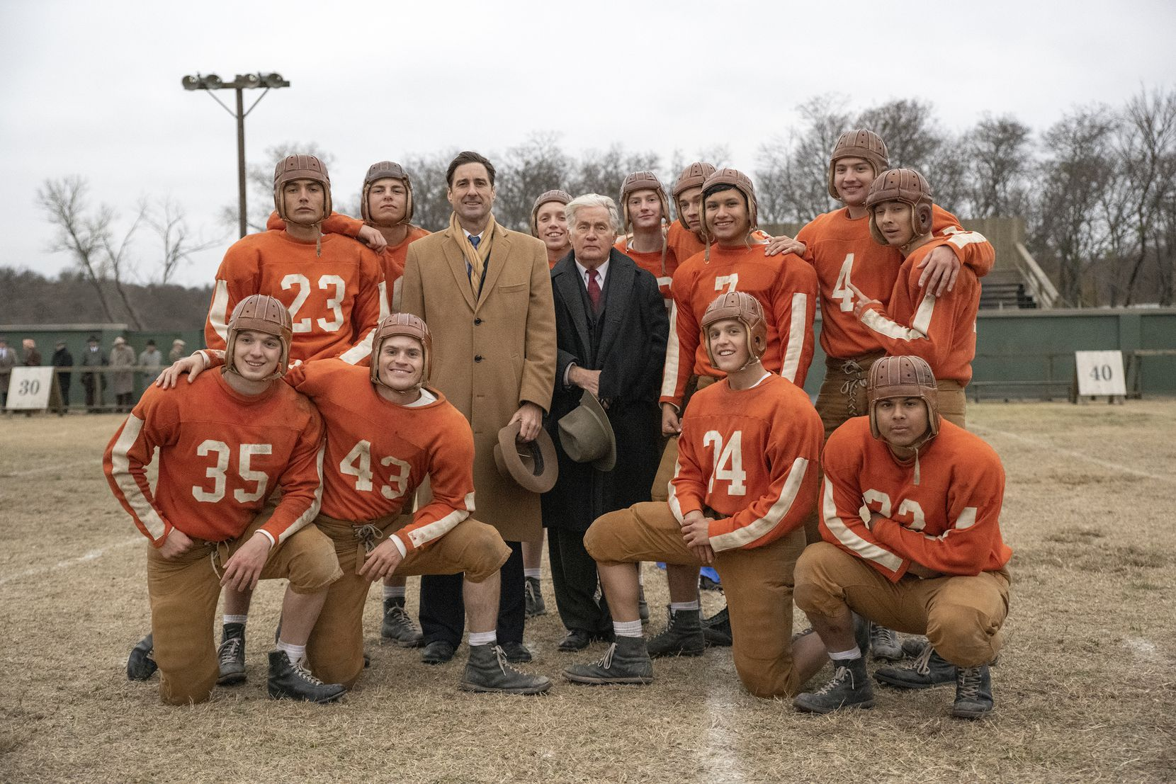 """A photo from the new movie """"12 Mighty Orphans."""" Left to Right: (Back): Preston Porter, Woodrow Luttrell, Sampley Barinaga, Jacob Lofland (Middle): Levi Dylan, Luke Wilson, Martin Sheen, Manuel Tapia, Austin Shook, Michael Gohlke (Front): Slade Monroe, Jake Austin Walker, Bailey Roberts and Tyler Silva."""