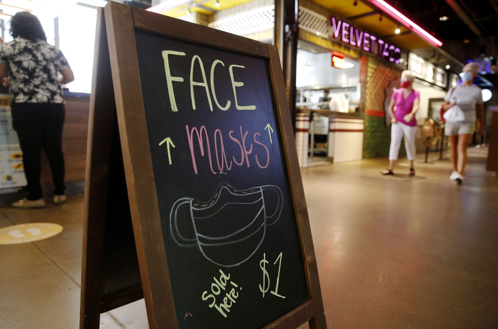 Face masks available for purchase at Legacy Food Hall in Plano.