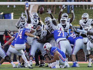 SMU place kicker Chris Naggar (34) hits a 43-yard game-winning field goal in the final seconds of a win over Memphis at Ford Stadium on Saturday, Oct. 3, 2020, in Dallas. (Smiley N. Pool/The Dallas Morning News)