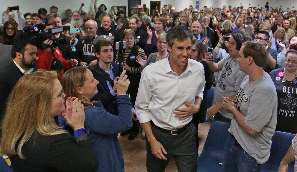 El Paso Democrat  Beto O'Rourke arrives at a town hall meeting at the Plumbers & Pipefitters Union Hall on West Miller Road in Garland on Friday, January 26, 2018.