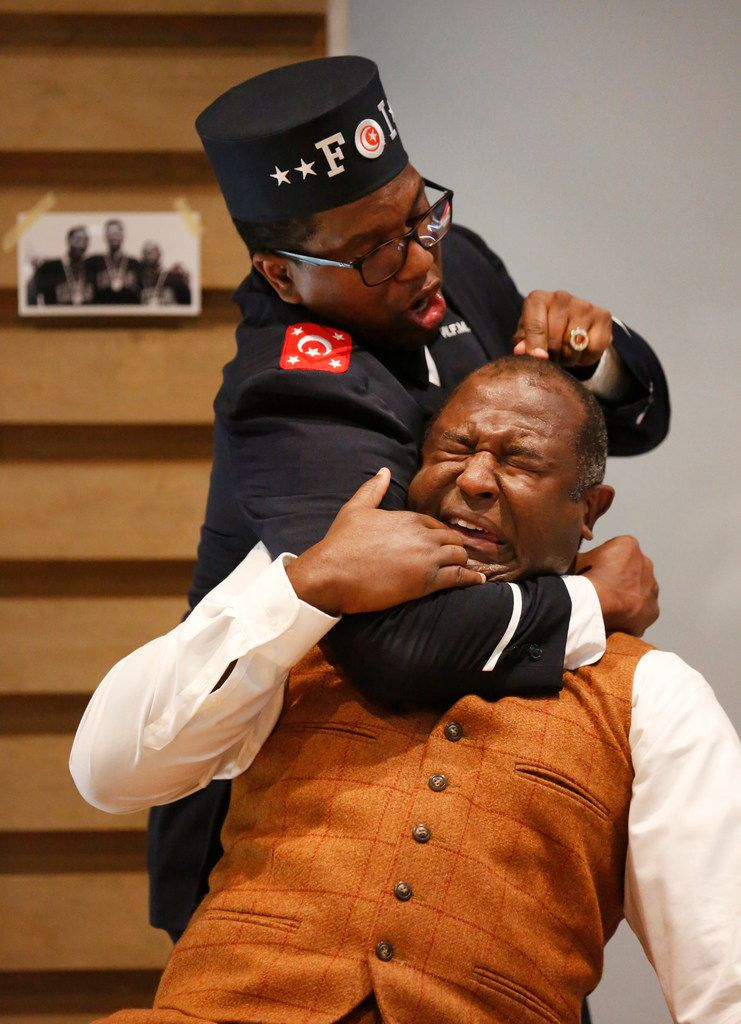 Keith Bolden (top) as Brother Rashid and Tyrone L. Robinson as Stepin Fetchit in Dallas Theater Center's Fetch Clay, Make Man at the Wyly Theatre.