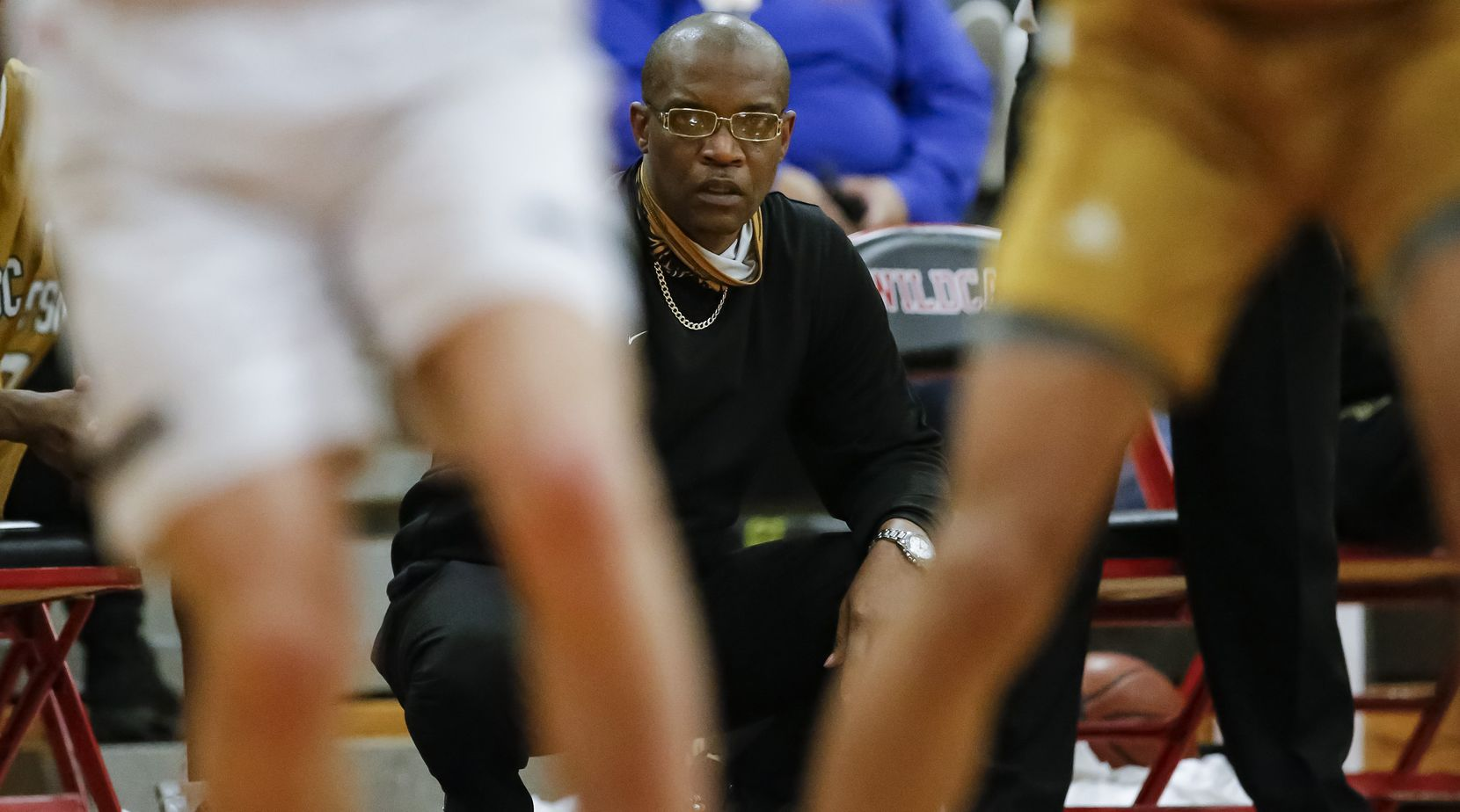 South Oak Cliff head coach James Mays II  looks on during the second half of a Class 5A area-round playoff basketball game against Lovejoy at Lake Highlands High School in Dallas, Wednesday, February 24, 2021. South oak Cliff won 46-44. (Brandon Wade/Special Contributor)