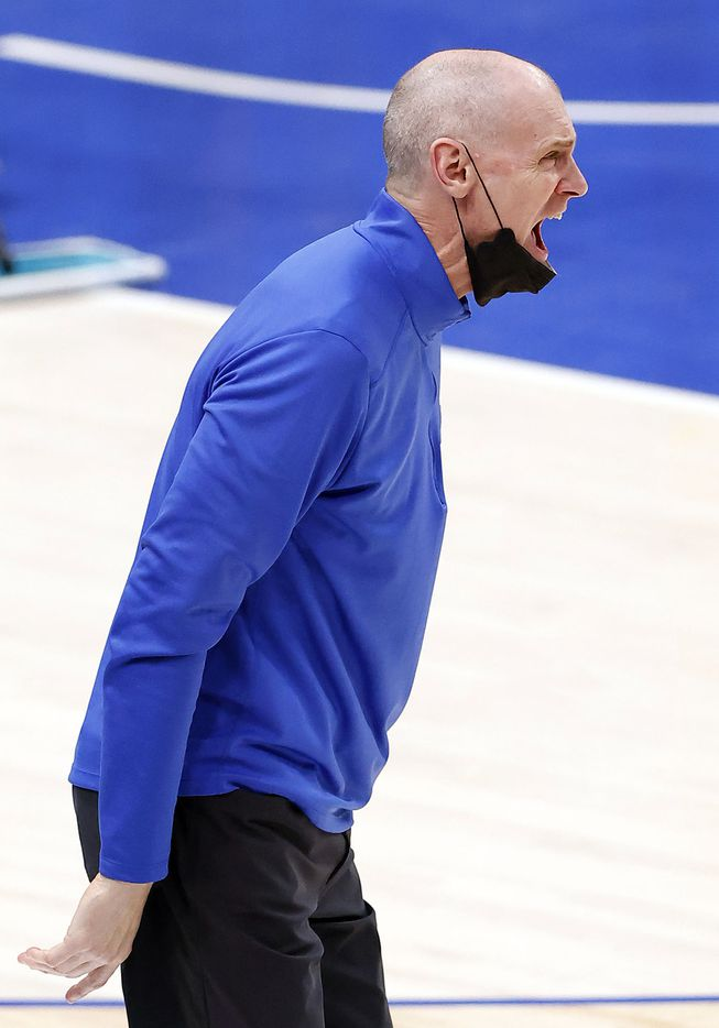 Dallas Mavericks head coach Rick Carlisle screams instruction to his players in the third quarter against the Cleveland Cavaliers at the American Airlines Center in Dallas, Friday, May 7, 2021. The Mavericks blew out the Cavs, 110-90. (Tom Fox/The Dallas Morning News)